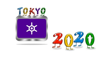 Metal button with Tokyo 2020.