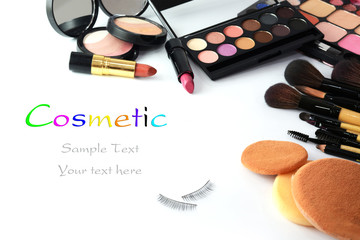 makeup brush and cosmetics,