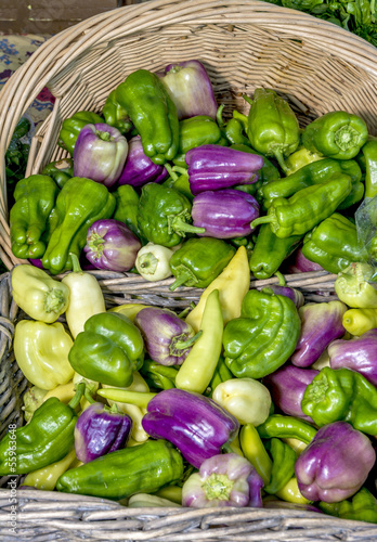 Colorful organic bell peppers in a basket