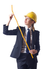 Woman builder with measuring tape