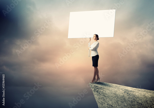 Business woman with banner