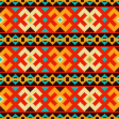Ethnic seamless pattern.Cross stitch handmade background