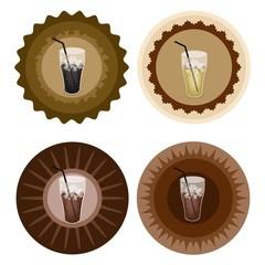 Four Type of Iced Coffee on Retro Round Label