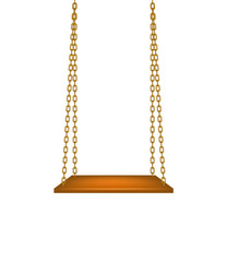Wooden swing hanging on golden chains