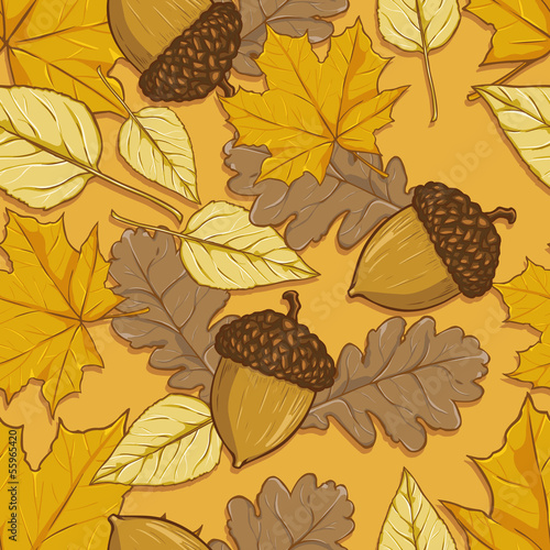 vector pattern of autumn leaves and acorns on yellow background