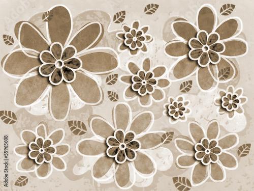Sepia Flower Art Illustration