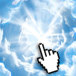 Digital icon hand click on empty light sky