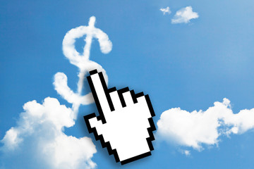 Digital icon hand click on dollar sign cloud word