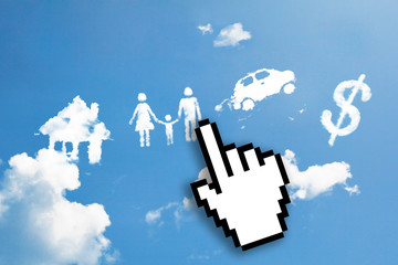 Digital icon hand click on house, family, car, dollar cloud symb