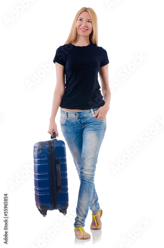 Woman preparing for vacation on white