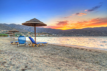 Sunset on the beach of Mirabello Bay, Greece