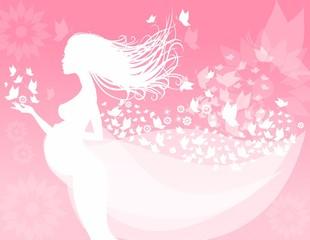 Беременная девушка, нежный фон