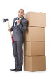 Man with axe and boxes on white