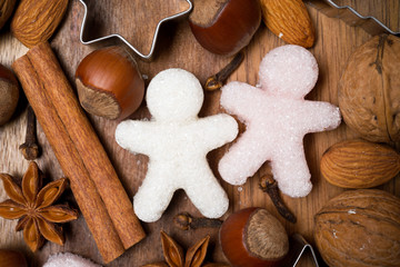 ingredients for Christmas baking and sugar little men, top view