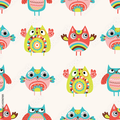 Owls seamless pattern - 55967001