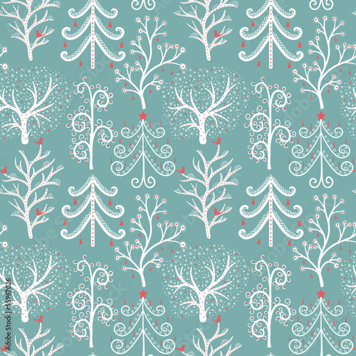 Winter forest. Christmas seamless pattern