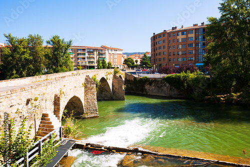 Old bridge over Arga river in  Pamplona, Navarre