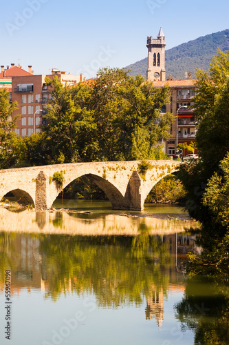 Old bridge over Arga river. Pamplona, Navarre