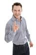 Lachender Businessman mit erhobenem Zeigefinger isoliert