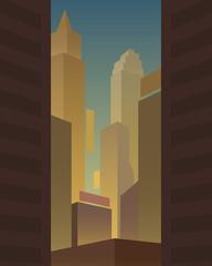 Big city background. Vector illustration.