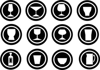 beverage icon collection created in vector format