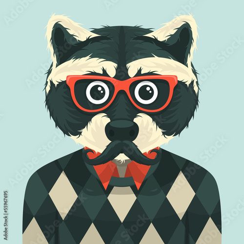 Hipster raccoon. Vector illustration.