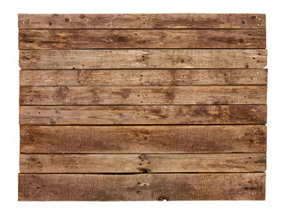 Vintage planked wood sign board isolated on white
