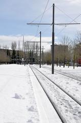 Railroad track in winter, Vitoria (Spain)