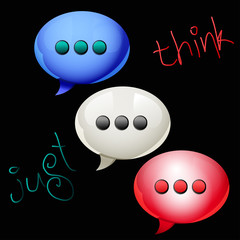 Three speech bubbles icons