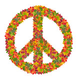 peace sign from colorful leaves