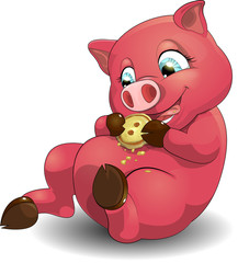 pig and cookies