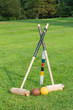 Croquet equipment propped up ready for use - 55971649