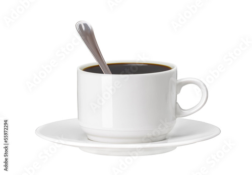 white cup of coffee with spoon isolated on white