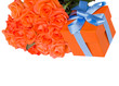 orange roses with present box