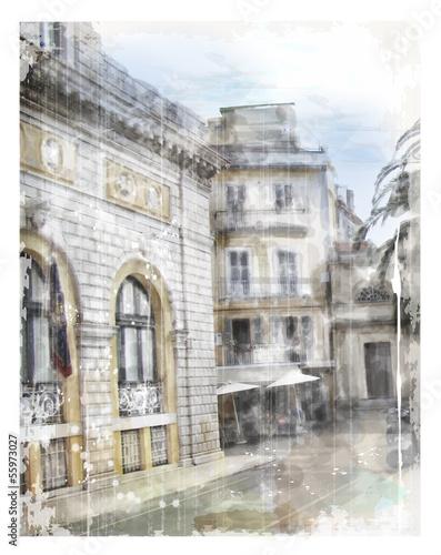 illustration-der-stadtstrase-aquarell-stil