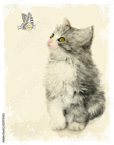 Vintage greeting card with fluffy kitten and butterfly.  Imitati
