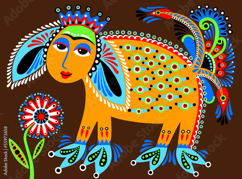 ukrainian tribal ethnic painting, unusual animal, folk illustrat