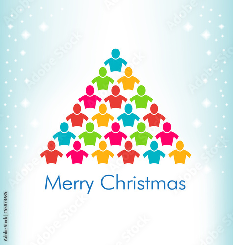 People Christmas Tree Color Vector