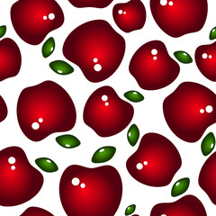 Seamless background with red glossy apples and leaves. Vector.