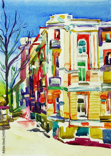 original watercolor painting of kiev building, ukraine