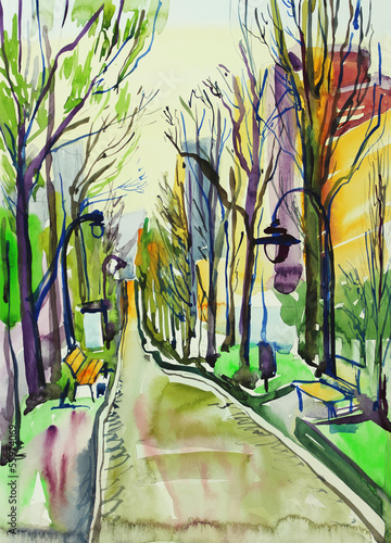 Fototapeta original watercolor painting of city park