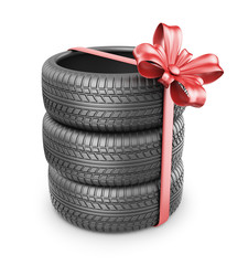 Tyres with a red ribbon. Present. 3D Icon isolated on white