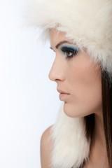 Beautiful female profile at winter
