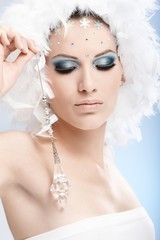 Luxurious winter beauty with crystal jewel