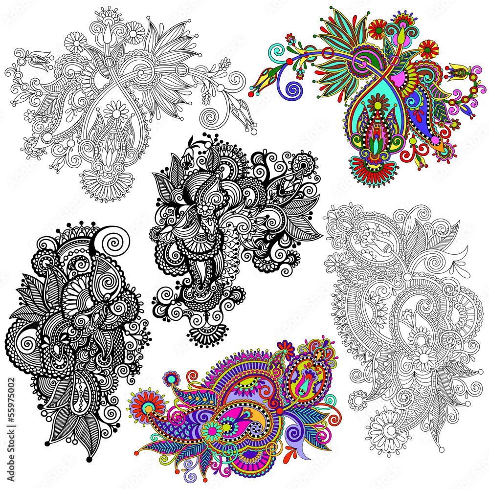 Line Art Flower Sticker Design : Original hand draw line art ornate flower design ukrainian