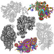 original hand draw line art ornate flower design. Ukrainian trad