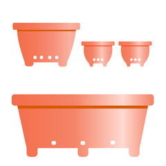 set of flower pots