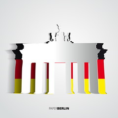Paper Brandenburg Gate - Berlin - Germany - Card vector illustra