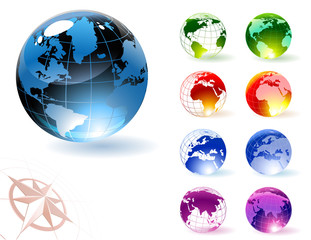 Glossy globes. Vector.