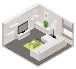 Vector isometric living room icon